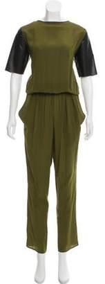Alexis Vegan Leather-Accented Silk Jumpsuit