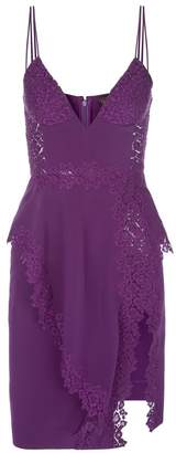 La Perla Cocktail Violet Silk And Macrame Frill Dress With Built-In Bra