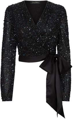 Jenny Packham Embellished Albany Wrap Top