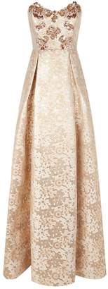 Badgley Mischka Strapless Bead Embellished Gown