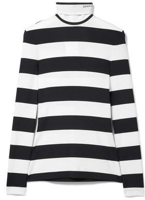 Calvin Klein Striped Stretch-jersey Turtleneck Top - Black