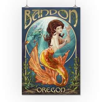 Bandon, Oregon - Mermaid - Lantern Press Artwork (16x24 Giclee Gallery Print, Wall Decor Travel Poster)