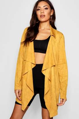 boohoo Suedette Waterfall Jacket