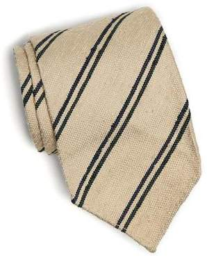 Drakes Drake's Linen Double Stripe Tie in Ecru