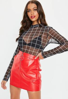 Missguided Black High Neck Mesh Plaid Bodysuit