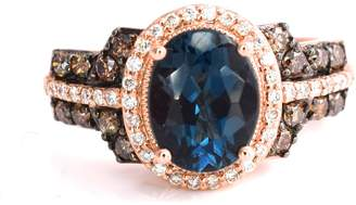 LeVian LE VIAN Deep Sea Topaz Ring Chocolate and Vanilla Diamonds 2.52 cttw 14K Rose Gold Size 7