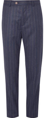 Brunello Cucinelli Navy Chalk-Striped Wool Suit Trousers