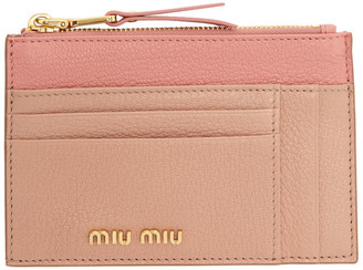 Miu Miu Pink Two-Tone Zip Card Holder