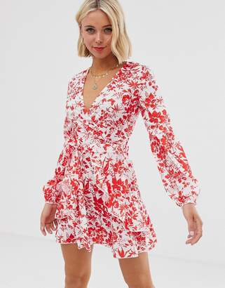 Parisian long sleeve dress in red floral print