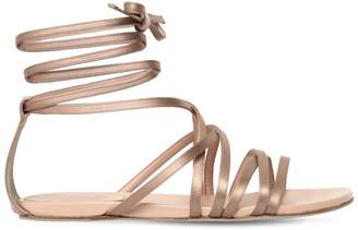 Alberta Ferretti 10mm Satin Lace-Up Sandals