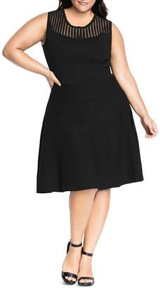 City Chic Plus Mesh Yoke Skater Dress