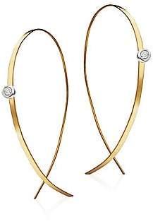 """Lana Women's Upside Down Small Diamond & 14K Yellow Gold Flat Hoop Earrings/1"""""""