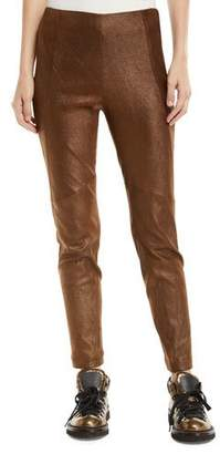 Brunello Cucinelli Metallic Leather Side-Zip Legging Pants