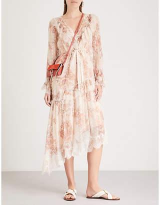 Free People Eliza lace-trim chiffon dress