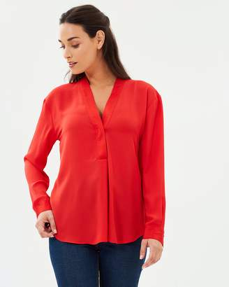 Warehouse Satin Mix Long Sleeve Blouse