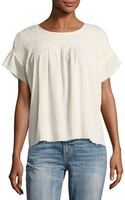 Current/Elliott The Smocked Cotton Tee Shirt, Beige $238 thestylecure.com
