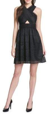 GUESS Sleeveless Lace Keyhole Dress