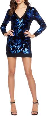 Dress the Population Cosmo x Cory Sequin Knit Long Sleeve Body-Con Minidress