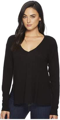 Three Dots Eco Knit Long Sleeve V-Neck w/ Side Slits Women's Long Sleeve Pullover