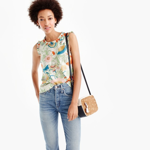 J.Crew Ornate floral ruffle-trim top in silk
