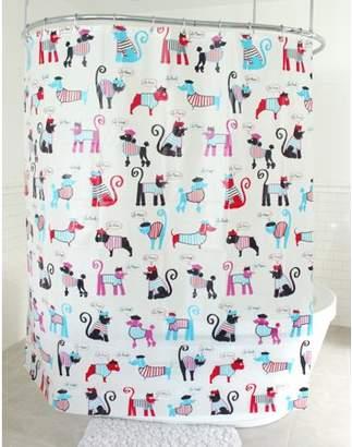 "Splash Home Minou Pitou PEVA Shower Curtain, 72"" x 70"", Red"