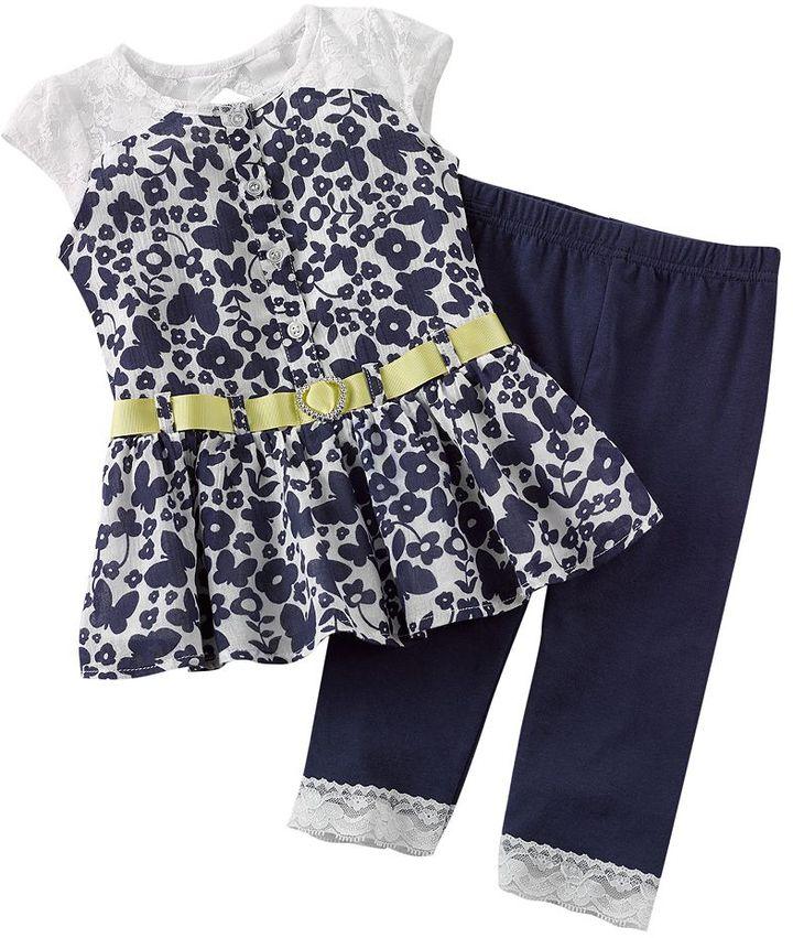 Little Lass lace-back dress & leggings set - toddler