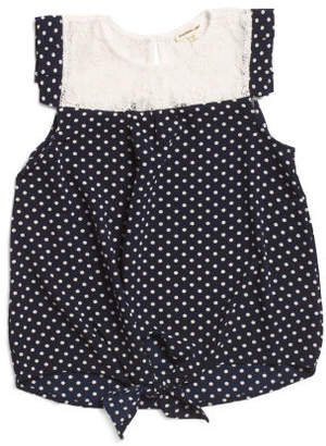 Big Girls Tie Front Polka Dot Top