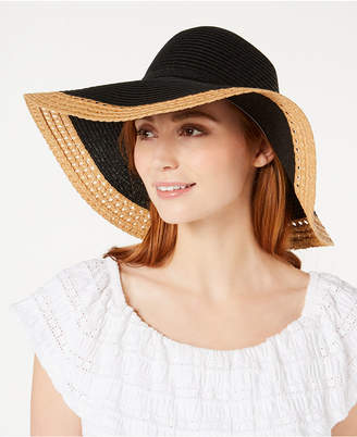 INC International Concepts I.N.C. Mixed Braid Colorblocked Floppy Hat, Created for Macy's