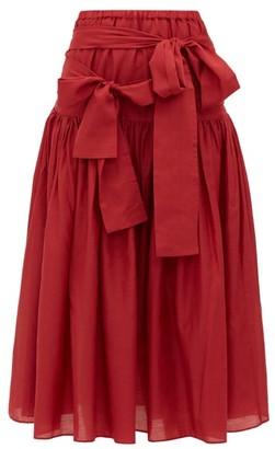 Sara Lanzi Waist Tie Cotton Blend Poplin Midi Skirt - Womens - Red