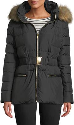 Donna Karan Belted Faux-Fur Trimmed Short Puffer Jacket