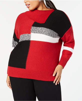 Style&Co. Style & Co Plus Size Colorblock Envelope-Neck Sweater