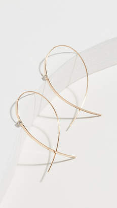 Lana 14k Small Flat Upside Down Hoops with Diamonds