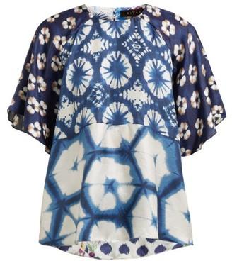 Biyan Suji Floral Print Silk Blouse - Womens - Navy Multi