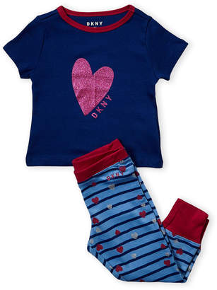 DKNY Toddler Girls) Two-Piece Glitter Heart Tee & Pajama Joggers Set