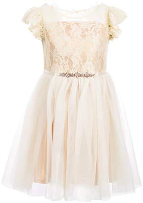 Pink & Violet Toddler Girls Ruffle-Trim Lace Dress
