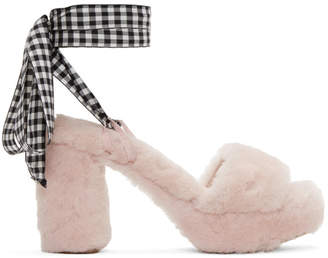 Miu Miu Pink Shearling Sandals