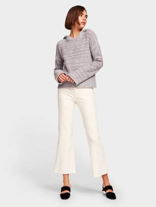 White + Warren Brushed Cashmere Luxe Ribbed Collar Pullover