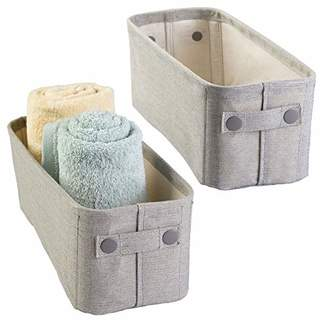 mDesign Soft Cotton Fabric Bathroom Storage Bin Basket with Coated Interior and Attached Handles - Organizer for Closets