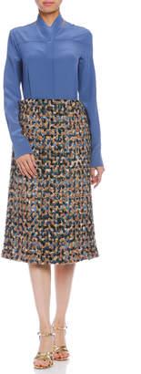 Maison Margiela (メゾン マルジェラ) - Maison Margiela カシミヤ混ニットx布帛 デザインスカート ミックス 36