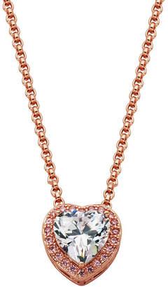 SPARKLE ALLURE Sparkle Allure Multi Color Cubic Zirconia Bronze 18 Inch Cable Heart Pendant Necklace