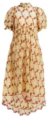 Simone Rocha Floral Embroidered Tulle Dress - Womens - Yellow Multi