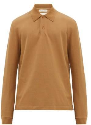Bottega Veneta Long Sleeved Cotton Pique Polo Shirt - Mens - Beige