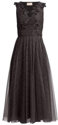 Christopher Kane Metallic Tulle Midi Dress - Womens - Black Silver