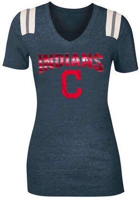 5th & Ocean Women's Cleveland Indians Shoulder Stripe Foil T-Shirt