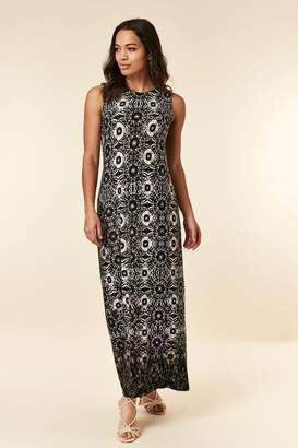 Wallis Womens Black Tie Dye Blocked Maxi Dress - Black