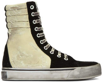Palm Angels Black and Off-White Distressed Suede Super High-Top Sneakers