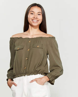 Almost Famous Button Detail Off-the-Shoulder Peasant Top