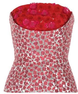 Oscar de la Renta Embellished brocade top