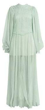 Stella McCartney Women's Blouson Sleeve Ruched Chiffon Gown