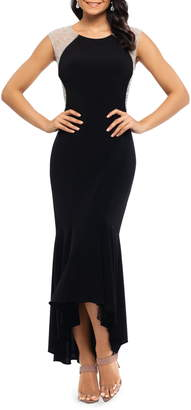 Xscape Evenings Caviar Bead High/Low Gown